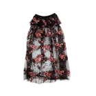 Peplum Puff Sheer Flower Skirt