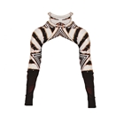 Gold Lining Black and White Stripe Bling Roll Neck Sleeve Top