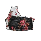 Floral Motif embroidered asymmetrical top with leather bust underlay