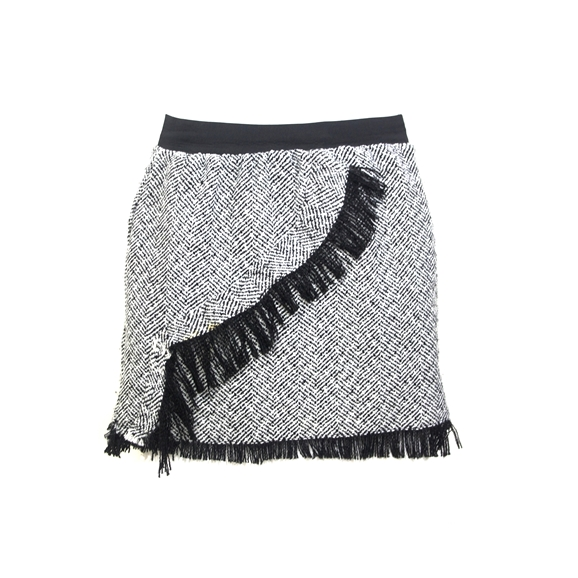 Frayed Across Herringbone Tweed Mini skirt